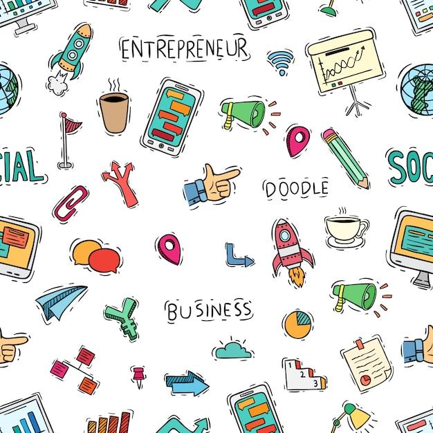 Collezioni di icone di scuola carino in seamless con stile doodle Vettore Premium