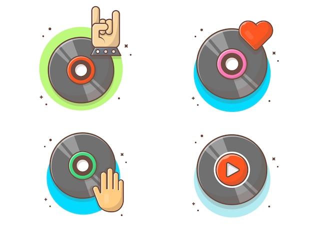 Collezioni di musica su disco in vinile. bianco d'annata del record di musica del vinile isolato Vettore Premium