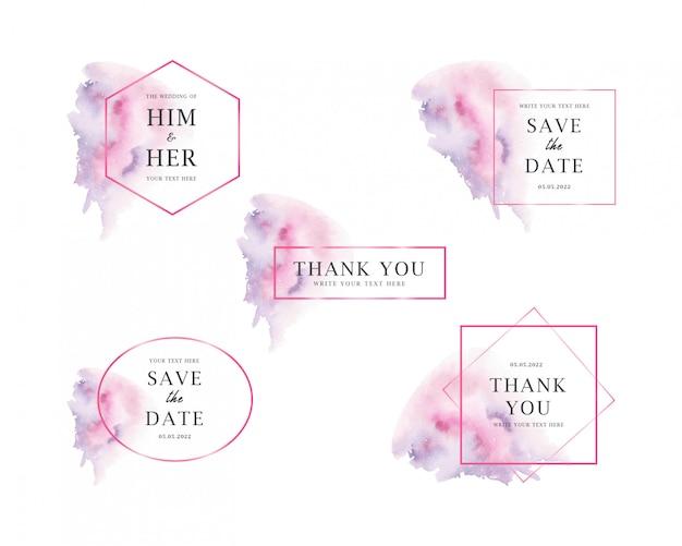 Collezioni di nozze di macchie di acquerello Vettore Premium