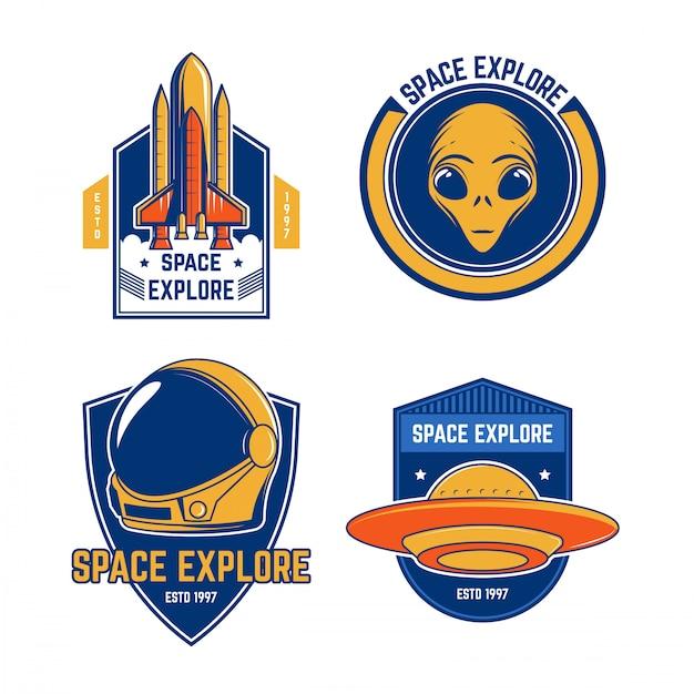 Collezioni emblem vintage space Vettore Premium