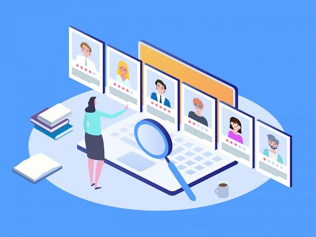 Colloquio di lavoro, agenzia di collocamento. concetto di assunzione e assunzione isometrica. Vettore Premium