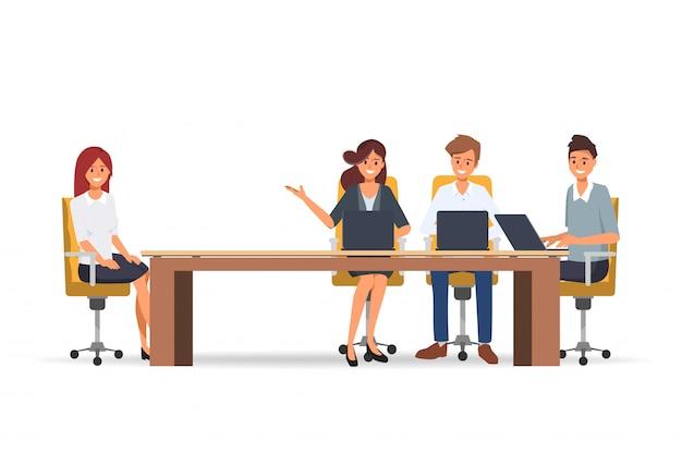 Colloquio di lavoro con le risorse umane professionali e d'ufficio. Vettore Premium
