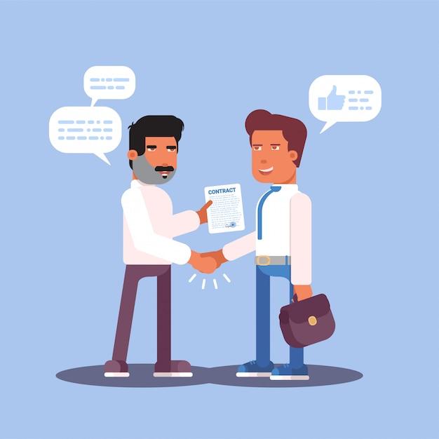 Colloquio di lavoro o illustrazione del fumetto di partenariato, stretta di mano di due uomini Vettore Premium