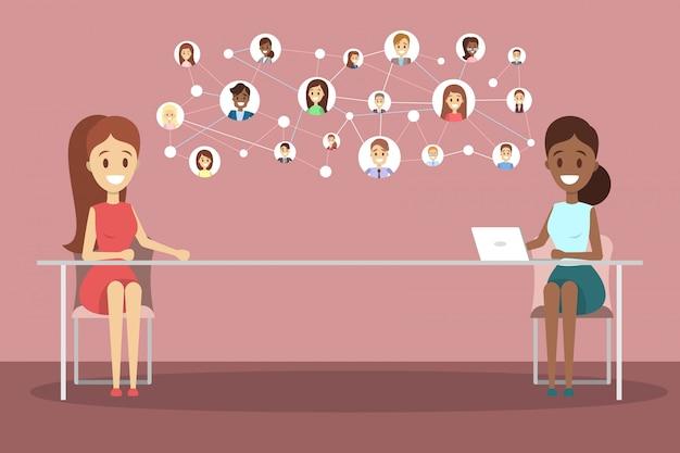 Colloquio di lavoro online. responsabile delle risorse umane in cerca di un candidato di lavoro su internet concetto di assunzione. illustrazione Vettore Premium