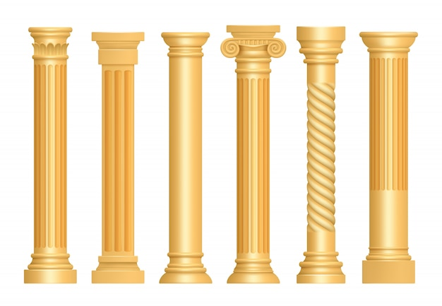 Colonna antica dorata. vettore classico del piedistallo della scultura di arte architettonica delle colonne romane realistico Vettore Premium