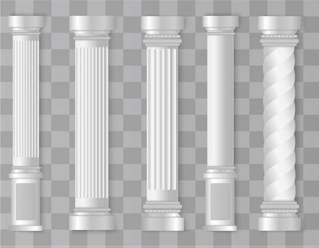 Colonna romana, greca. antica architettura antica. Vettore Premium