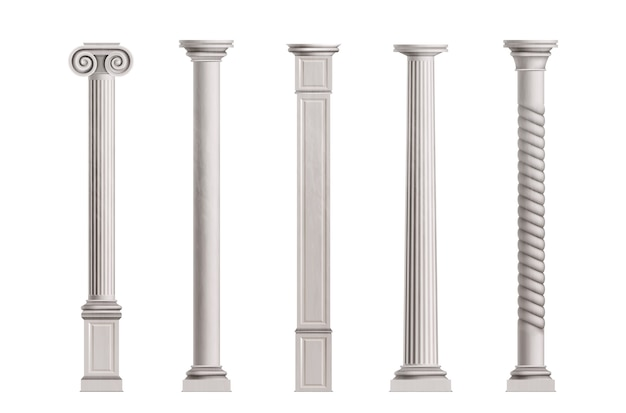 Colonne cubiche e cilindriche in pietra di marmo bianco con superficie liscia e ruvida Vettore gratuito