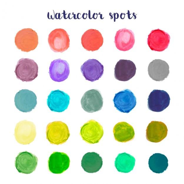 Colorata collezione di macchie acquerello Vettore gratuito