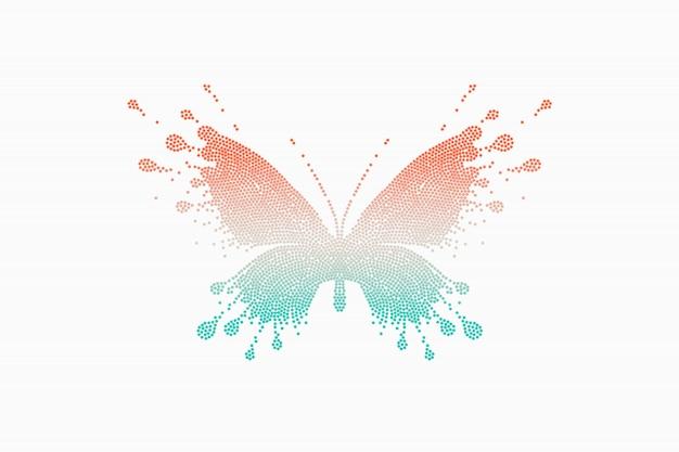 Colorata farfalla rosso-turchese Vettore Premium