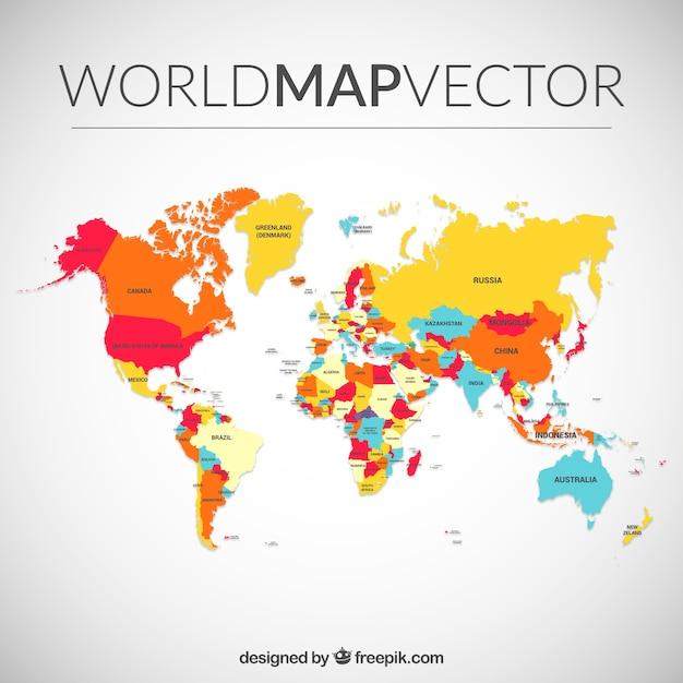 Colorata mappa del mondo Vettore gratuito