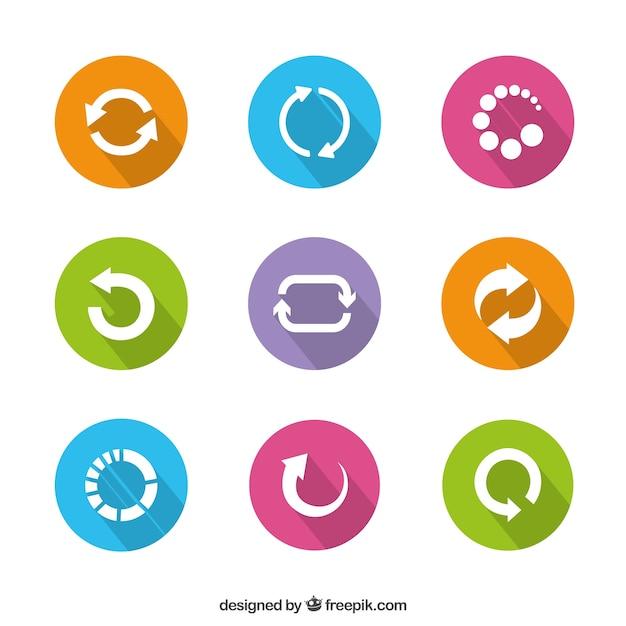 Colorate icone preloader Vettore gratuito