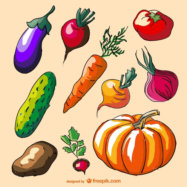 Colorati di doodle verdure set Vettore gratuito