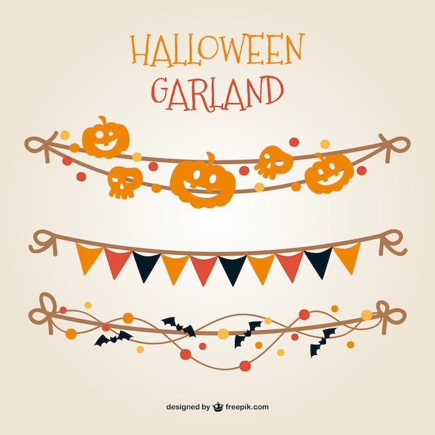 Colorati halloween ghirlanda vettore Vettore gratuito