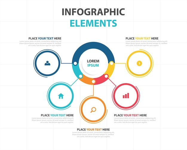 Colorato abstract business modello di infographic Vettore gratuito