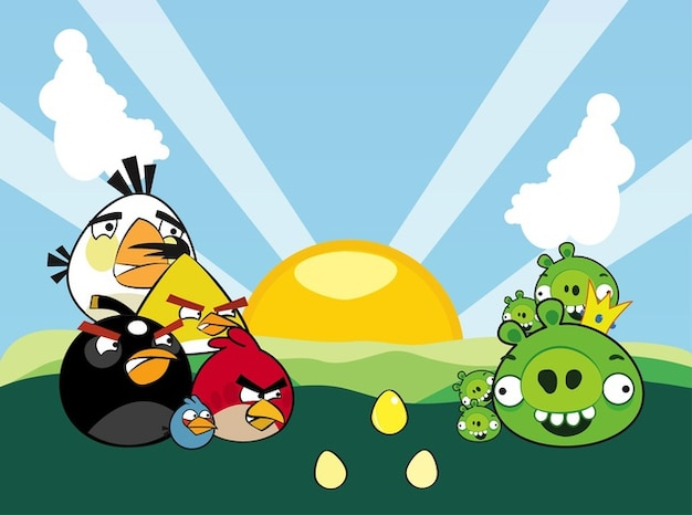 colorato Angry birds caratteri vettore Vettore gratuito