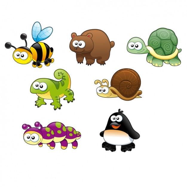 Colorato animali disegno Vettore gratuito