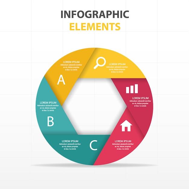 colorato astratto cerchio modello di business infografica Vettore gratuito