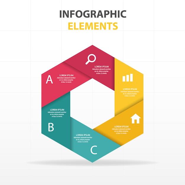 colorato astratto esagono modello di business infografica Vettore gratuito