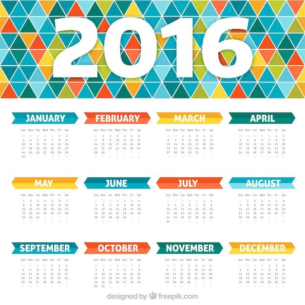 Colorato calendario con disegno geometrico Vettore Premium