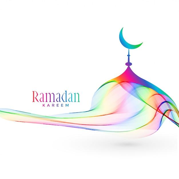 Colorato design creativo moschea per la stagione di ramadan kareem Vettore gratuito