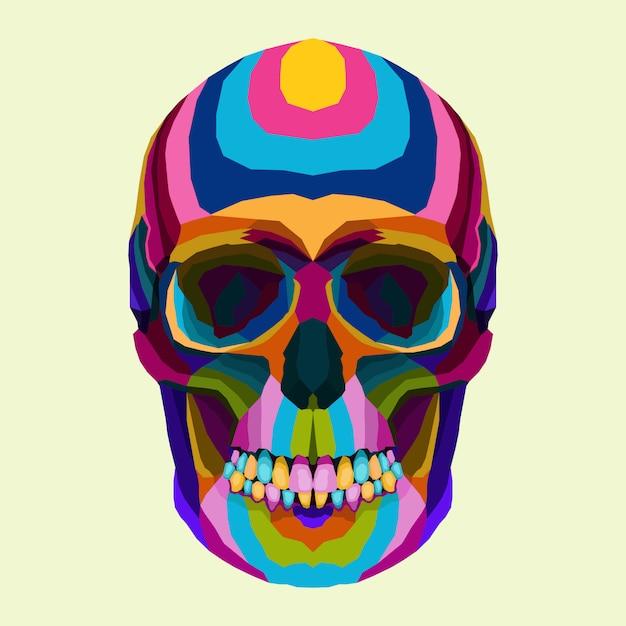 Colorato di teschio pop art stile vettoriale Vettore Premium