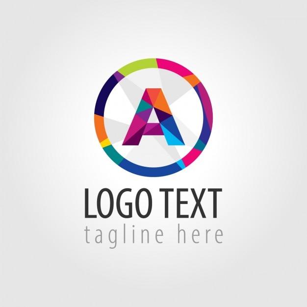 Colorato logo rotondo con una grande a nel mezzo Vettore gratuito