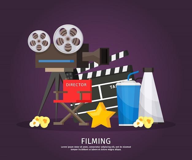 Colorato modello di cinematografia Vettore gratuito