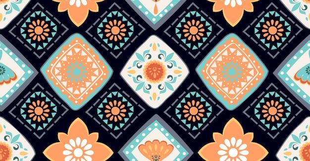 Colorato motivo geometrico senza soluzione di continuità in stile africano Vettore Premium