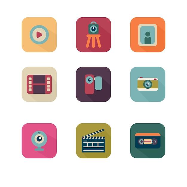 Colorato multimediale icon pack Vettore gratuito