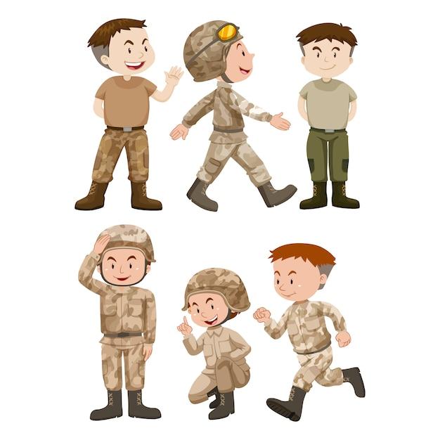 Colorato soldati disegno Vettore gratuito