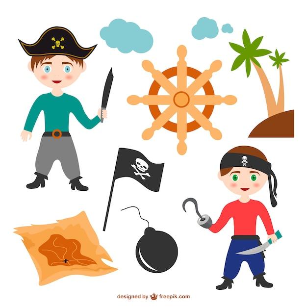 Colorato vettore cartone animato di elementi pirata
