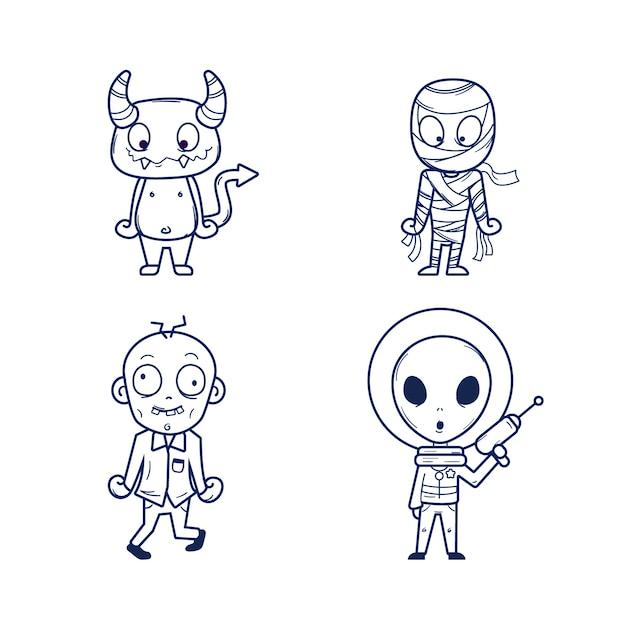 Colorazione carina per bambini con alieni Vettore gratuito