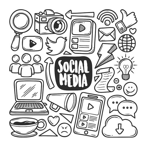 Colorazione disegnata a mano di scarabocchio delle icone di media sociali Vettore Premium