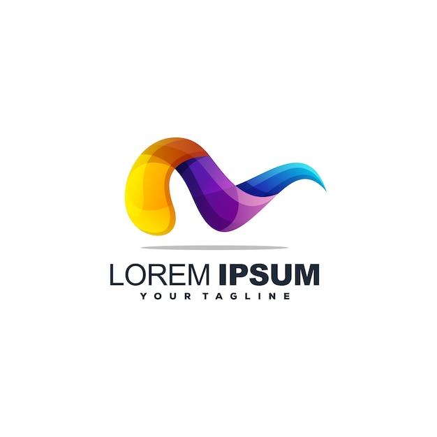 Colore completo astratto logo design vettoriale Vettore Premium