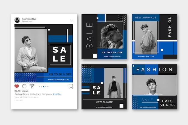 Colore del modello post vendite social media anno 2020 Vettore gratuito