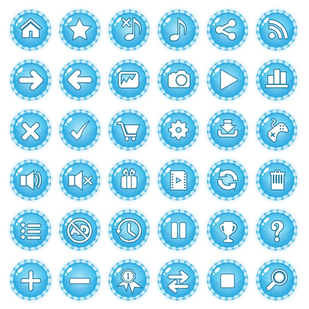 Colore della caramella della linea di confine del gioco del gui dei bottoni blu. Vettore Premium