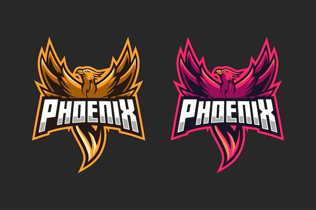 Colore opzione logo phoenix esport Vettore Premium