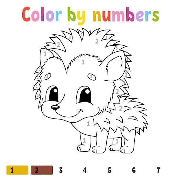 Colore Per Numeri Libro Da Colorare Per Bambini Vettore Premium