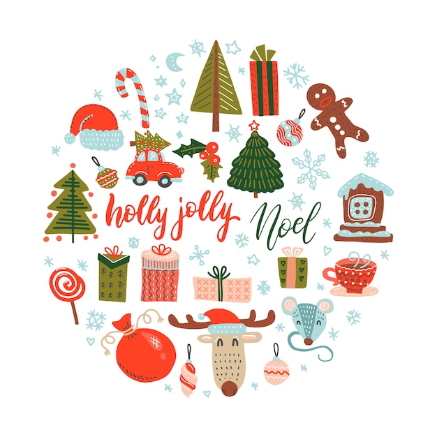 Colore piatto doodle vector elementi di design di natale. illustrazione disegnata a mano regalo, cappello, cervo, guanti, fiocchi di neve. Vettore Premium