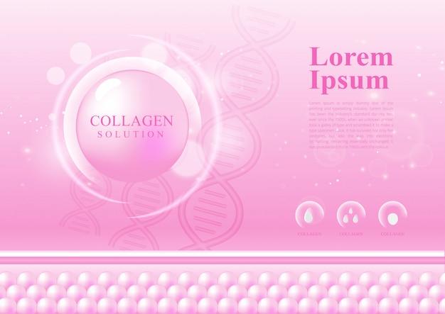 Colore rosa astratto per la soluzione cosmetica di collagene cura della pelle design elegante Vettore Premium