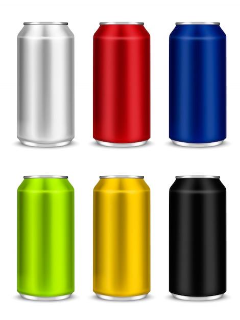 Colore set bianco birra in alluminio può o confezione di soda Vettore Premium