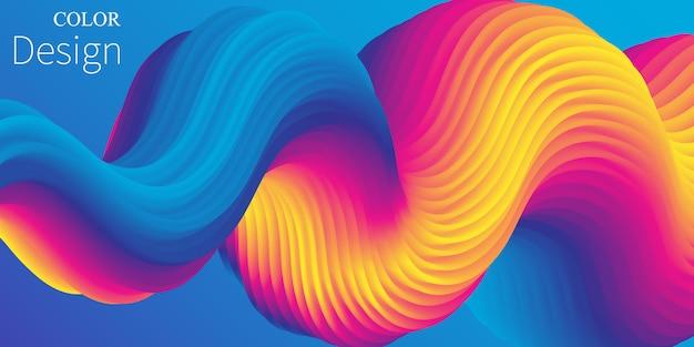 Colore vibrante. onda liquida. flusso del fluido. . Vettore Premium