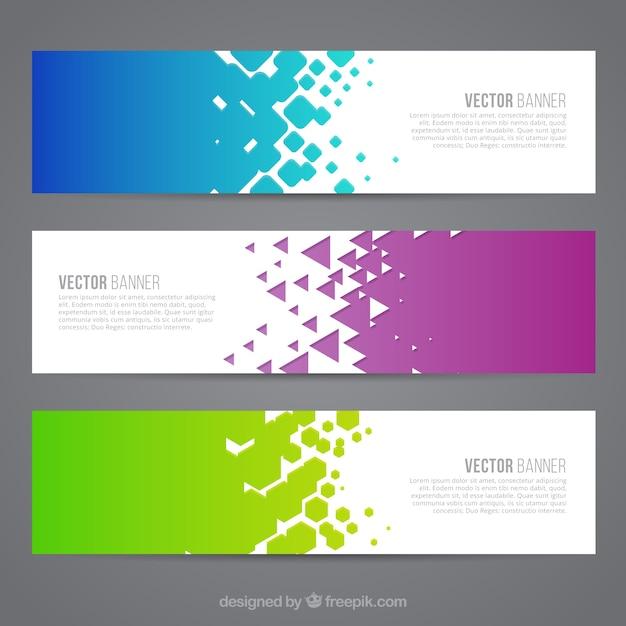 Colored astratto banner Vettore gratuito