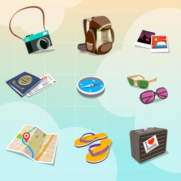 Colorful clipart viaggio in stile cartone animato