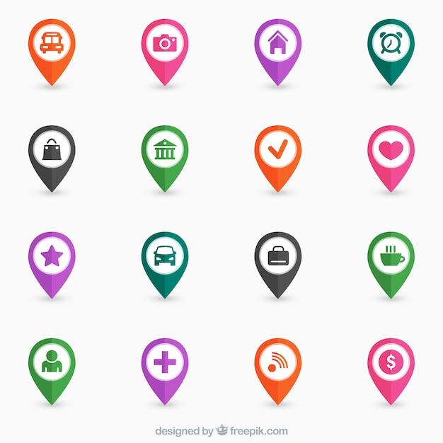 Colorful mappa perni Vettore gratuito