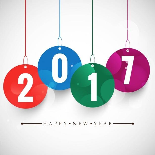 Colorful nuovo anno 2017 di sfondo Vettore gratuito