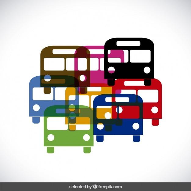 Colorful sagome di autobus Vettore gratuito