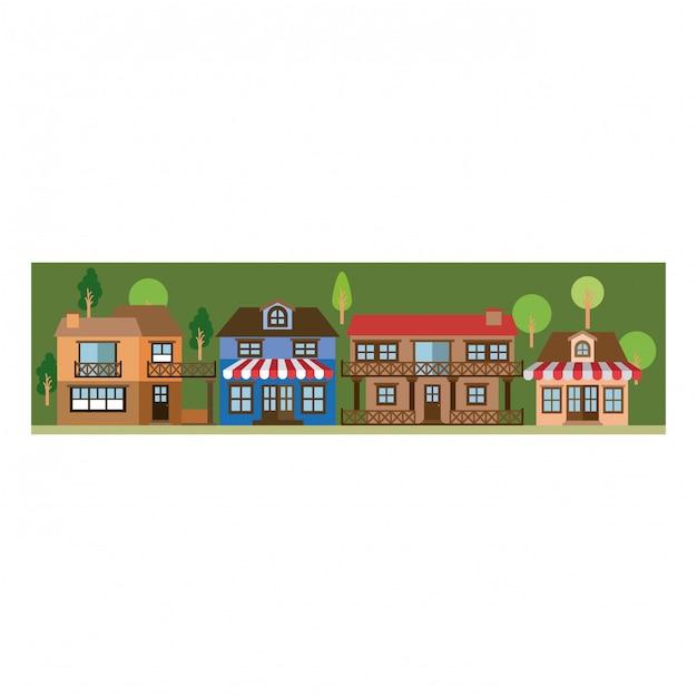 Colorful silhouette di paesaggio con facciata negozio con tenda e case di campagna Vettore Premium