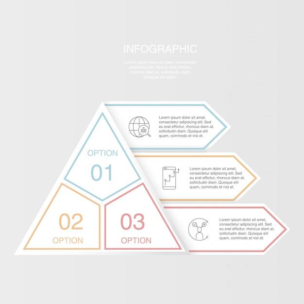 Colorful tre elementi di piramide triangolo infografica. Vettore Premium