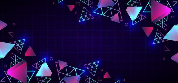 Colori al neon astratti alla moda del fondo geometrico degli anni 80 Vettore Premium